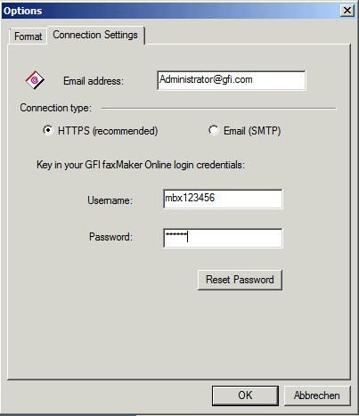 Connection settings of GFI FaxMaker Online client